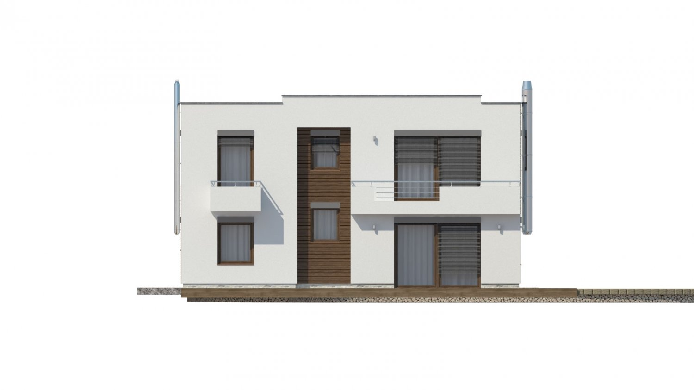 Pohľad 3. - Moderný projekt domu s garážou