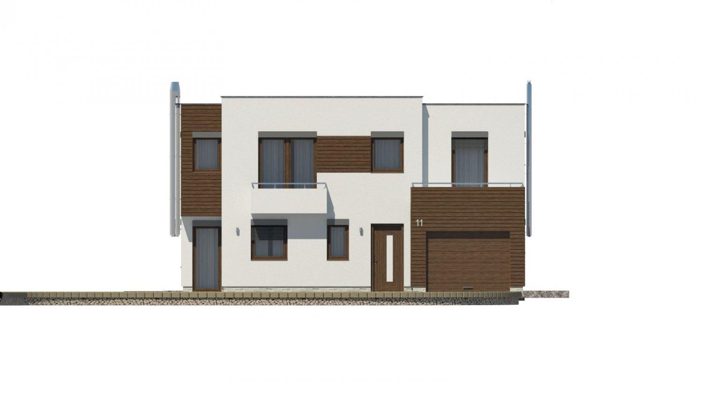 Pohľad 1. - Moderný projekt domu s garážou