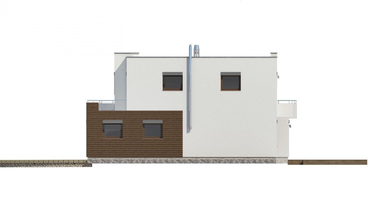 Pohľad 4. - Moderný projekt domu s garážou