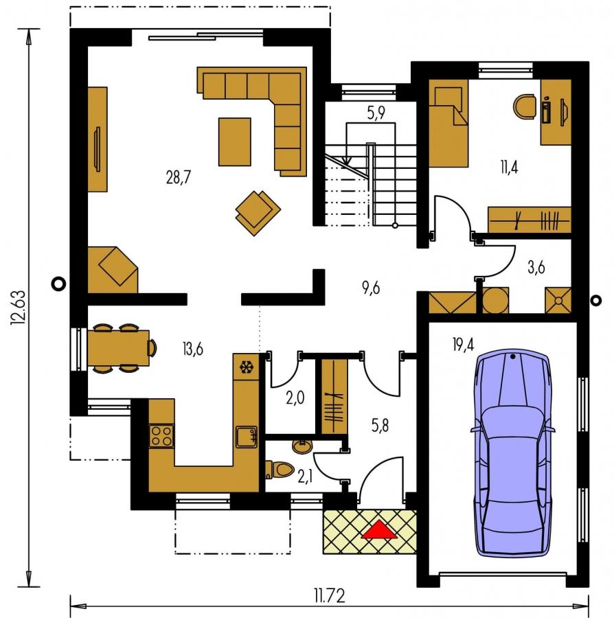 Pôdorys Prízemia - Moderný projekt domu s garážou