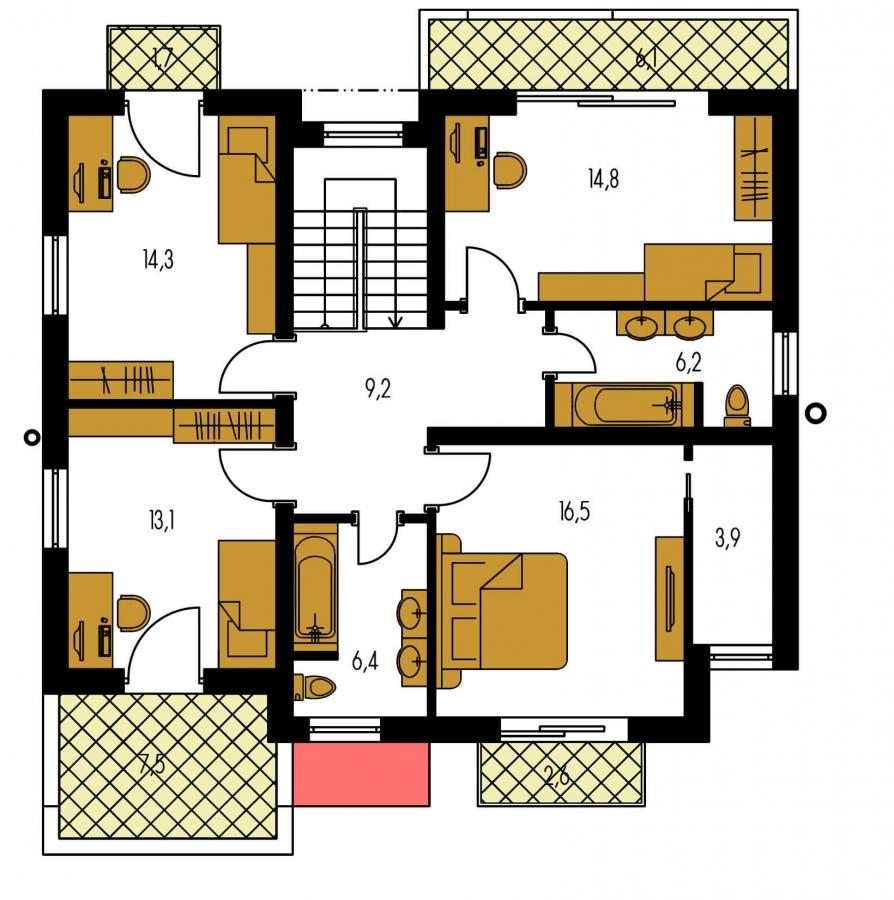 Pôdorys Poschodia - Moderný projekt domu s garážou
