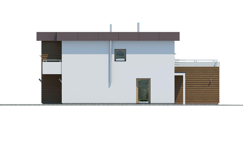 Pohľad 4. - Dom s plochou strechou a garážou.