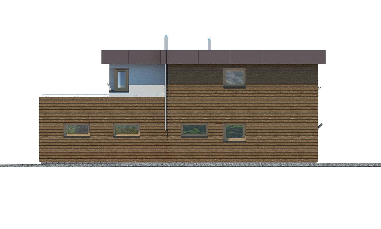 Pohľad 2. - Dom s plochou strechou a garážou.