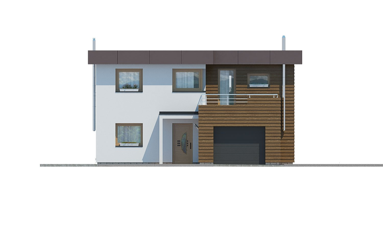Pohľad 1. - Dom s plochou strechou a garážou.