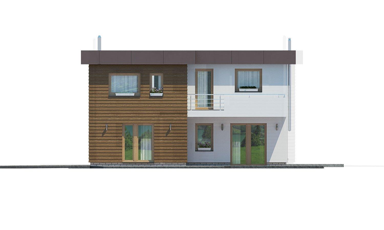 Pohľad 3. - Dom s plochou strechou a garážou.