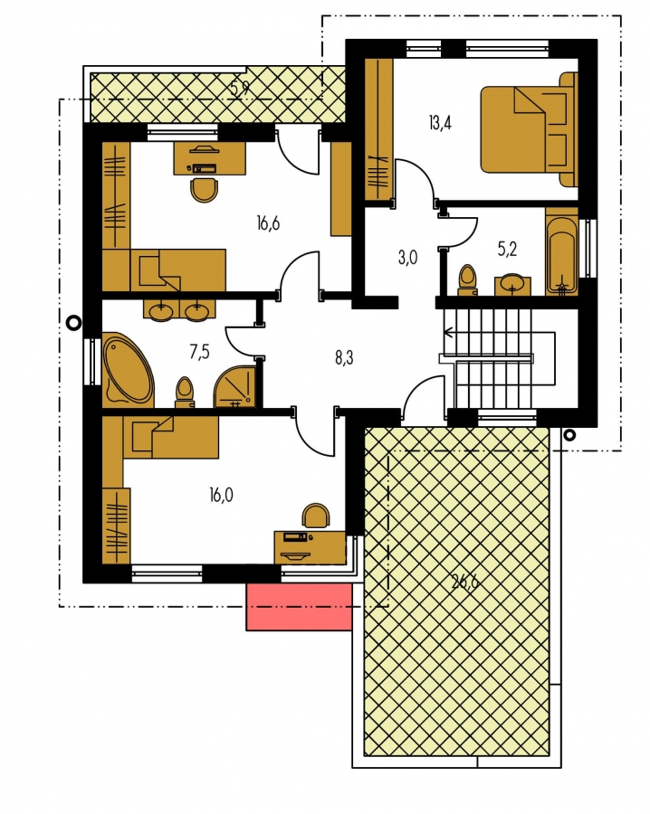 Pôdorys Poschodia - Dom s plochou strechou a garážou.