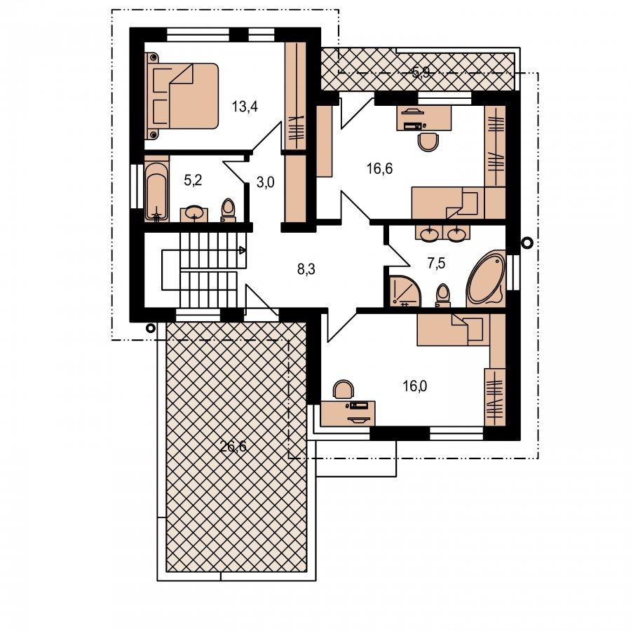 Pôdorys Poschodia - Dom s plochou strechou a garážou
