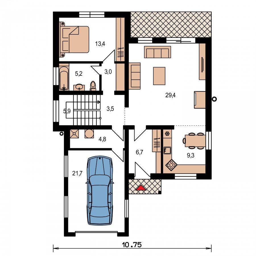 Pôdorys Prízemia - Dom s plochou strechou a garážou