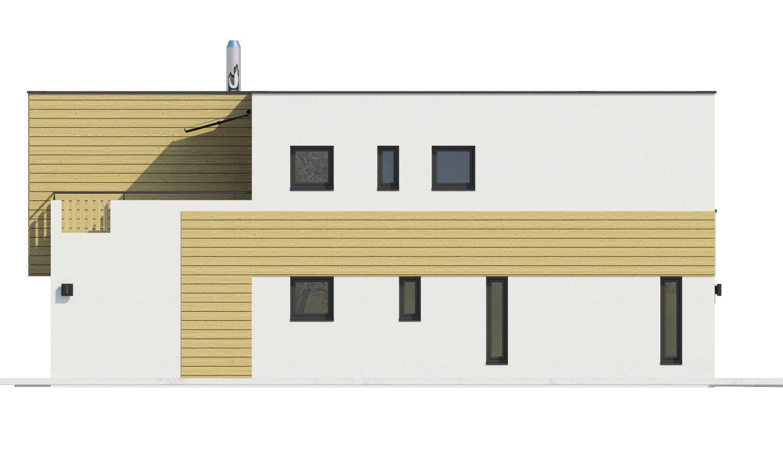 Pohľad 4. - Krásne presvetlený moderný rodinný dom s garážou a izbou na prízemí.