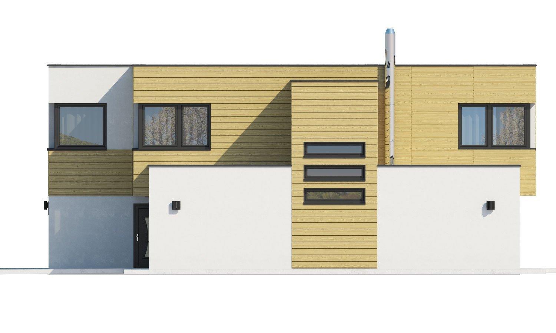 Pohľad 2. - Krásne presvetlený moderný rodinný dom s garážou a izbou na prízemí.