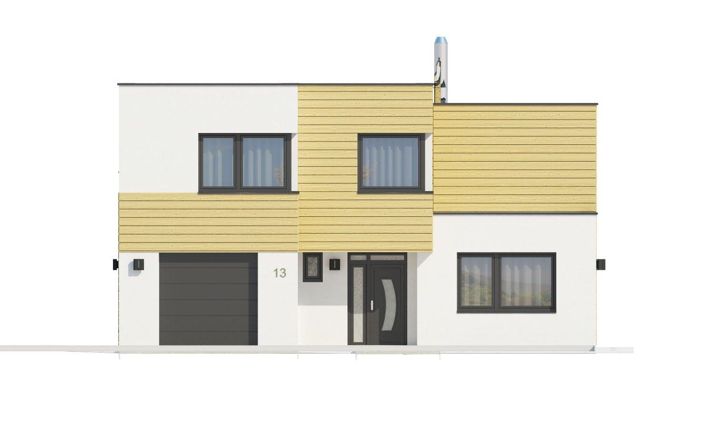 Pohľad 1. - Krásne presvetlený moderný rodinný dom s garážou a izbou na prízemí.