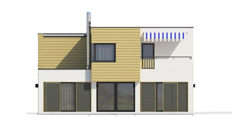 Pohľad 3. - Krásne presvetlený moderný rodinný dom s garážou a izbou na prízemí.