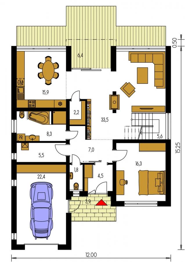 Pôdorys Prízemia - Krásne presvetlený moderný rodinný dom s garážou a izbou na prízemí.