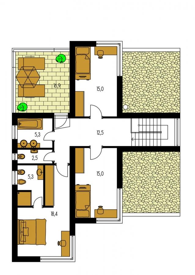 Pôdorys Poschodia - Krásne presvetlený moderný rodinný dom s garážou a izbou na prízemí.