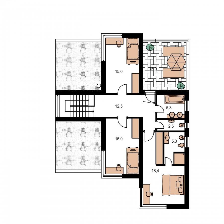 Pôdorys Poschodia - Presvetlený moderný rodinný dom