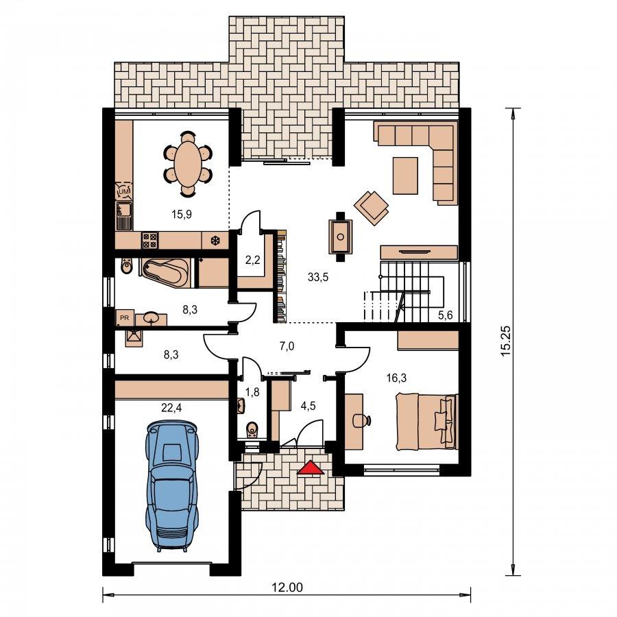 Pôdorys Prízemia - Presvetlený moderný rodinný dom