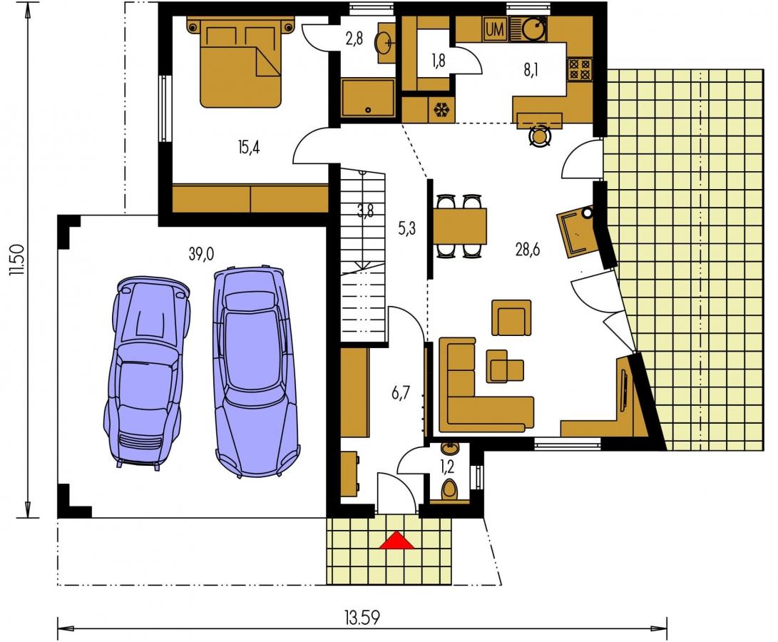 Pôdorys Prízemia - Atypický projekt domu s krytým státím pre dve autá a izbou na prízemí.