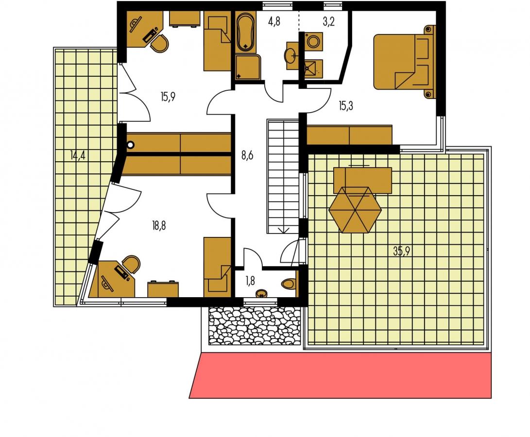 Pôdorys Poschodia - Atypický projekt domu s krytým státím pre dve autá a izbou na prízemí.