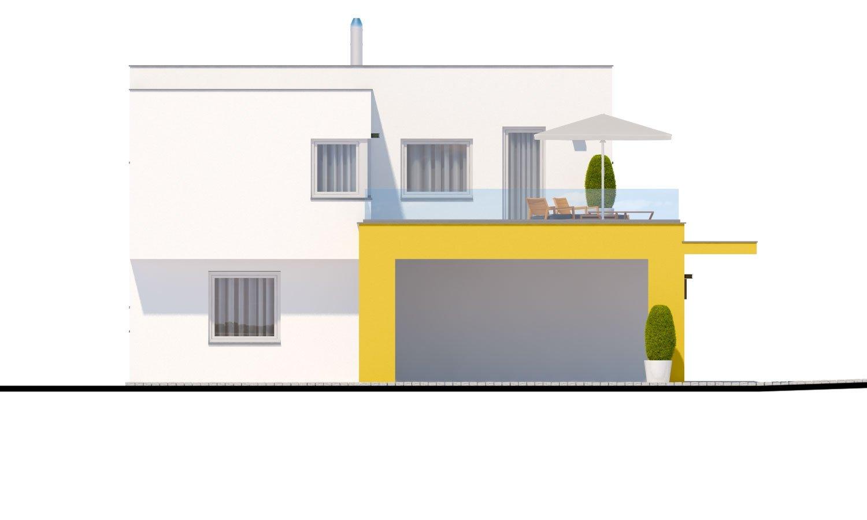 Pohľad 4. - Atypický projekt domu s krytým státím pre dve autá a izbou na prízemí.