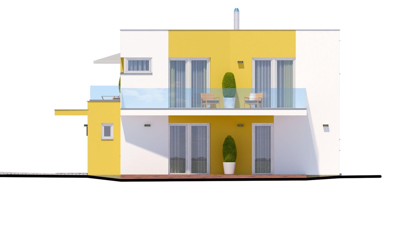 Pohľad 2. - Atypický projekt domu s krytým státím pre dve autá a izbou na prízemí.