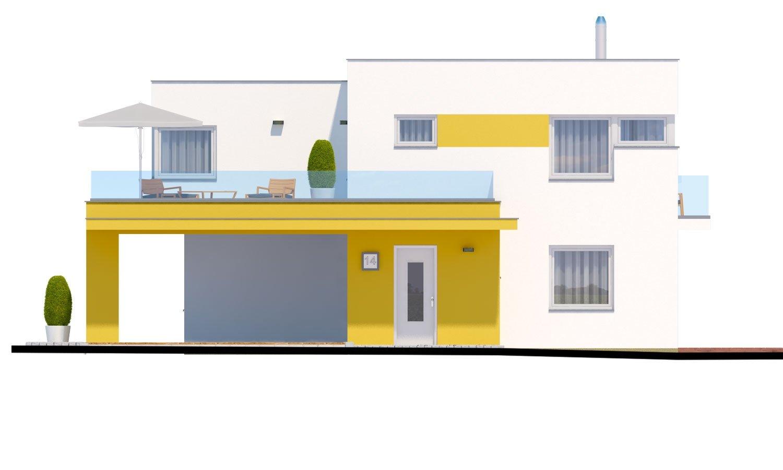 Pohľad 1. - Atypický projekt domu s krytým státím pre dve autá a izbou na prízemí.