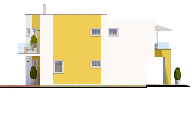 Pohľad 3. - Atypický projekt domu s krytým státím pre dve autá a izbou na prízemí.