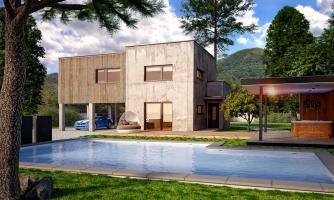 Dvojgeneračný moderný rodinný dom s plochou strechou s krytým stáním pre autá.