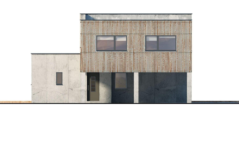Pohľad 4. - Dvojgeneračný moderný rodinný dom s plochou strechou s krytým stáním pre autá.