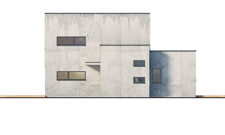 Pohľad 2. - Dvojgeneračný moderný rodinný dom s plochou strechou s krytým stáním pre autá.