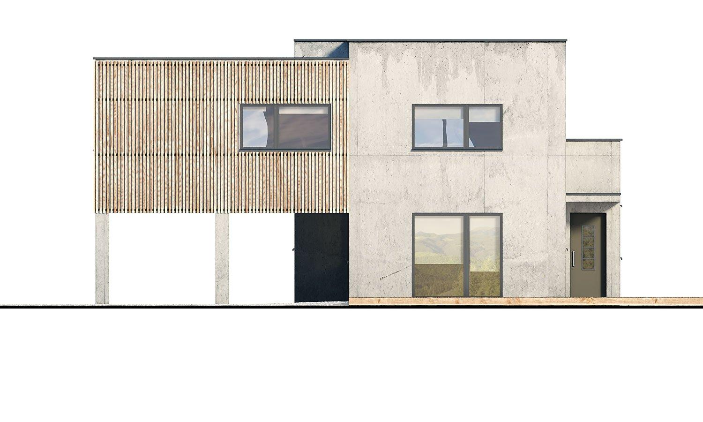 Pohľad 1. - Dvojgeneračný moderný rodinný dom s plochou strechou s krytým stáním pre autá.