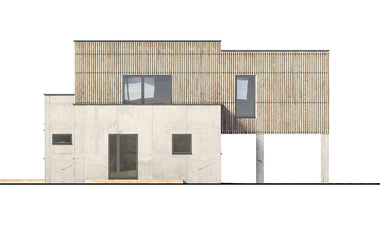Pohľad 3. - Dvojgeneračný moderný rodinný dom s plochou strechou s krytým stáním pre autá.