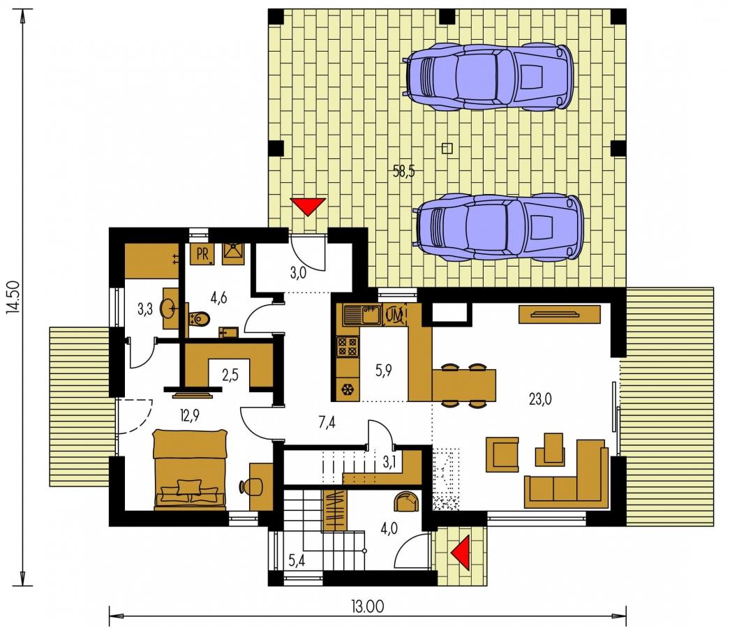Pôdorys Prízemia - Dvojgeneračný moderný rodinný dom s plochou strechou s krytým stáním pre autá.