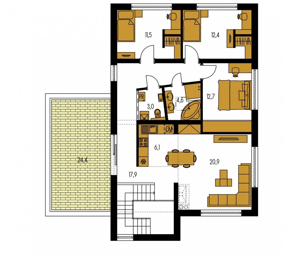 Pôdorys Poschodia - Dvojgeneračný moderný rodinný dom s plochou strechou s krytým stáním pre autá.