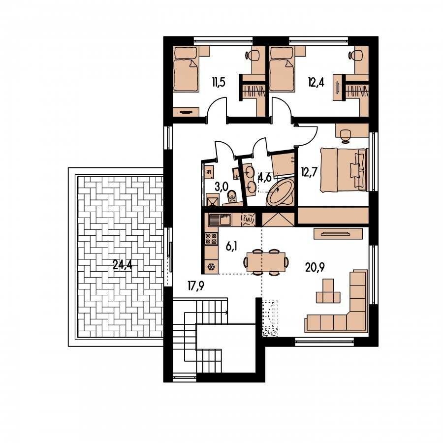 Pôdorys Poschodia - Dvojgeneračný moderný rodinný dom s plochou strechou s krytým stáním pre autá
