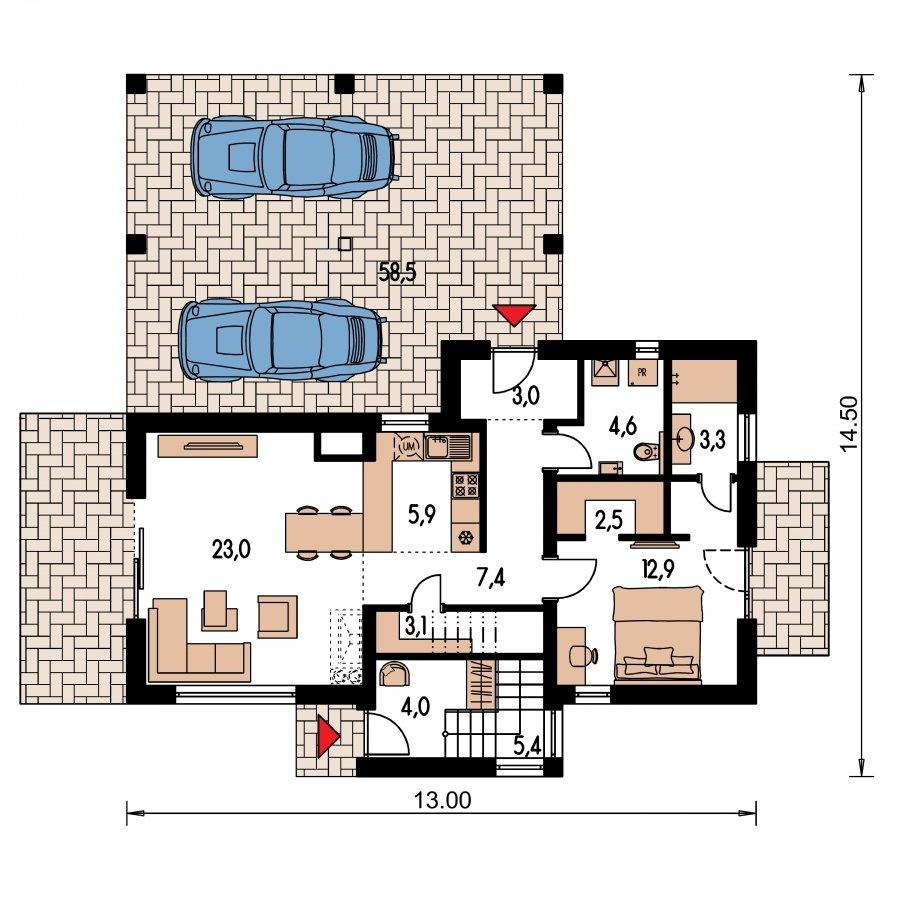Pôdorys Prízemia - Dvojgeneračný moderný rodinný dom s plochou strechou s krytým stáním pre autá