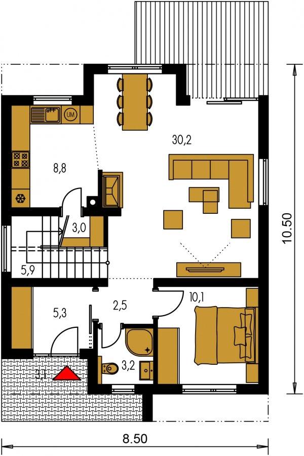 Pôdorys Prízemia - Viacpodlažný rodinný dom
