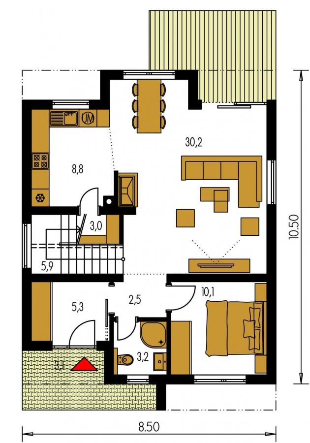 Pôdorys Prízemia - Poschodový rodinný dom