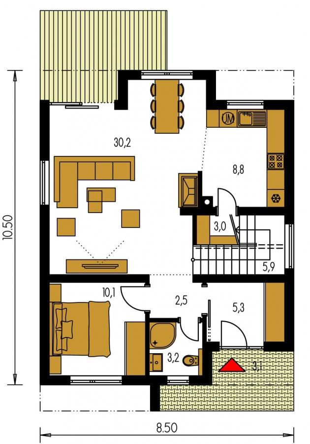 Pôdorys Prízemia - Poschodový rodinný dom s izbou aj na prízemí.