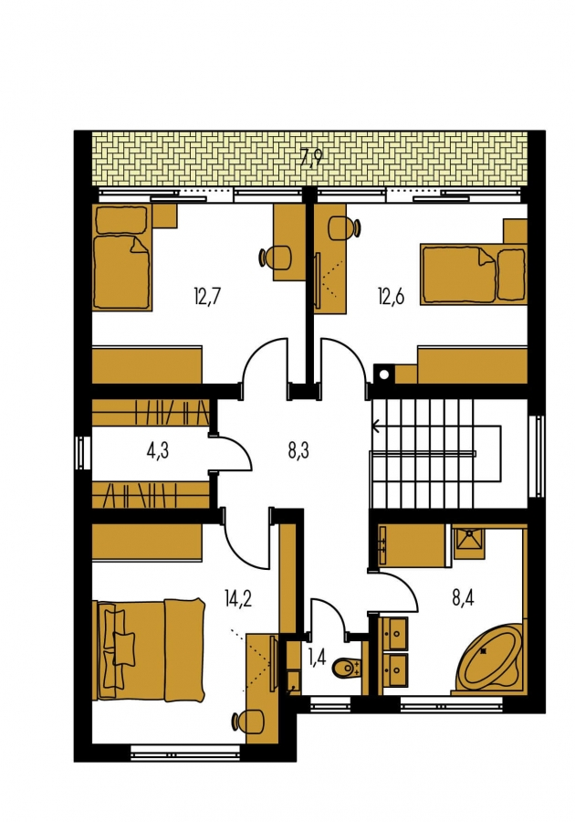 Pôdorys Poschodia - Poschodový rodinný dom s izbou aj na prízemí.