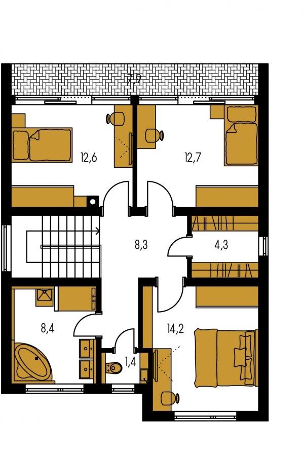 Pôdorys Poschodia - Viacpodlažný rodinný dom