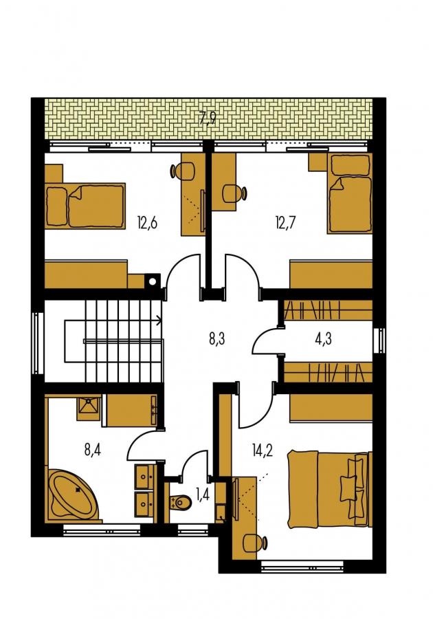 Pôdorys Poschodia - Poschodový rodinný dom