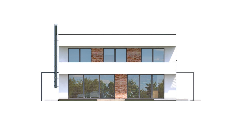Pohľad 3. - Priestranný moderný rodinný dom s dvojgarážou.