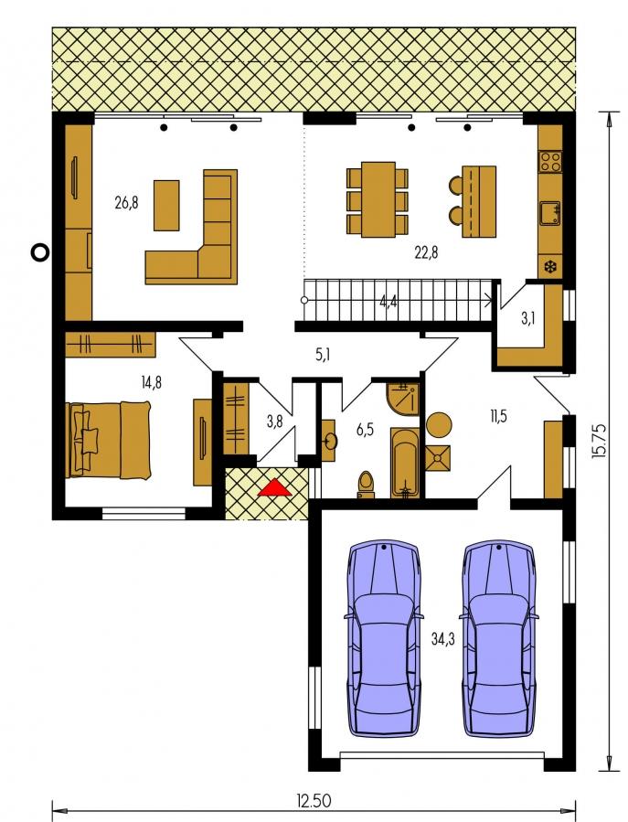 Pôdorys Prízemia - Priestranný moderný rodinný dom s dvojgarážou.