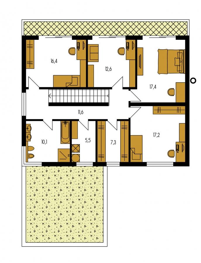 Pôdorys Poschodia - Priestranný moderný rodinný dom s dvojgarážou.