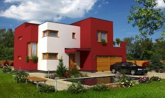 Moderný exkluzívny dom s dvojgarážou a plochou strechou.