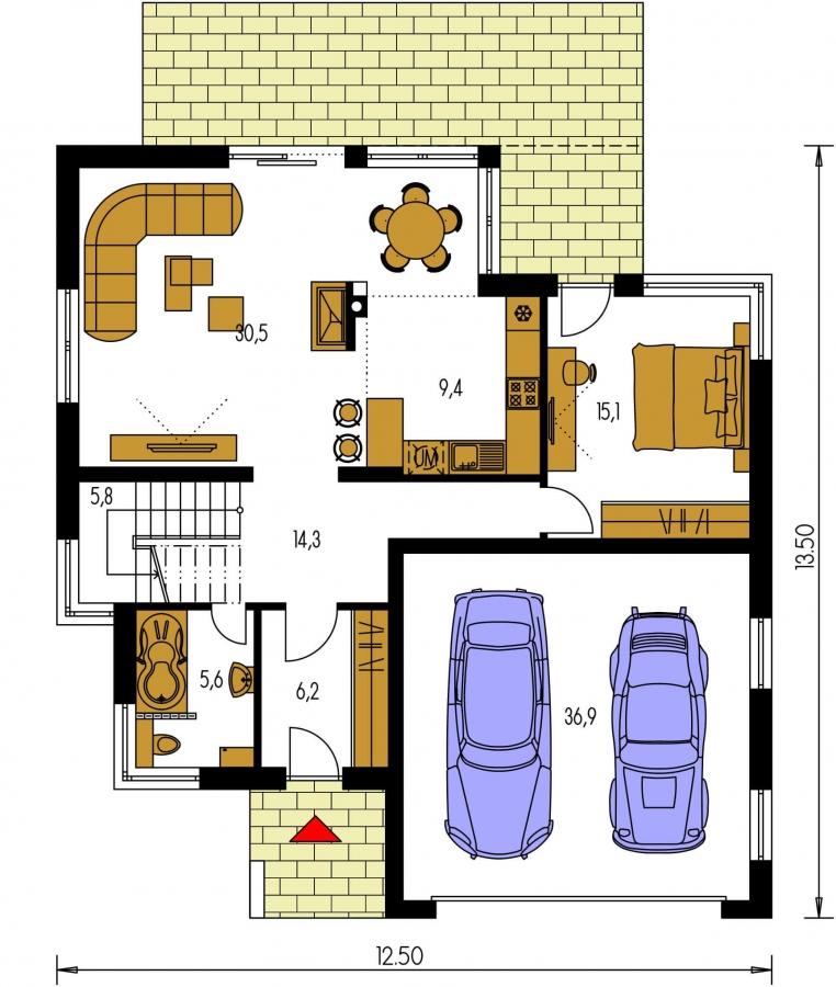 Pôdorys Prízemia - Moderný exkluzívny dom s dvojgarážou a plochou strechou, na poschodí sa dá realizovať kuchyňa s obývacou izbou