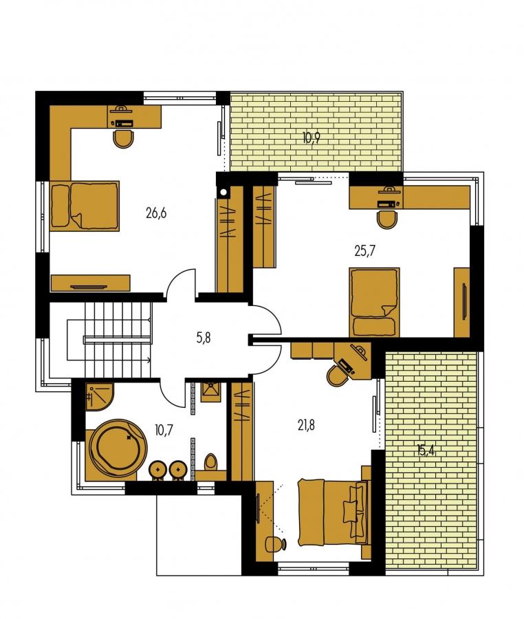 Pôdorys Poschodia - Moderný exkluzívny dom s dvojgarážou a plochou strechou.