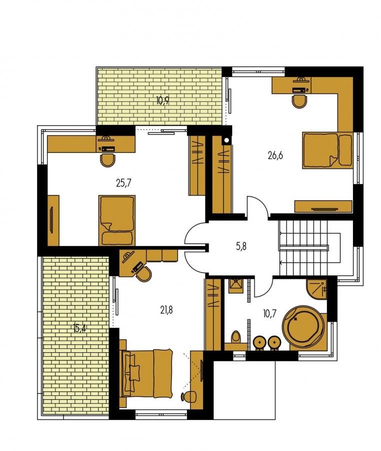 Pôdorys Poschodia - Moderný exkluzívny dom s dvojgarážou a plochou strechou, na poschodí sa dá realizovať kuchyňa s obývacou izbou