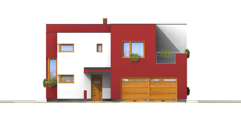 Pohľad 1. - Moderný exkluzívny dom s dvojgarážou a plochou strechou.