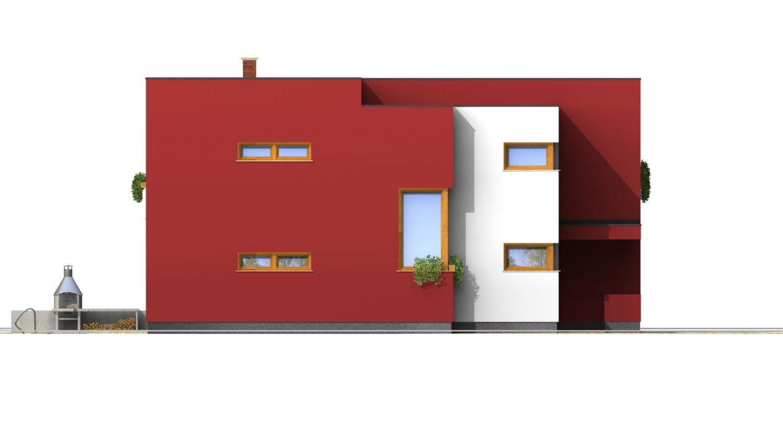 Pohľad 2. - Moderný exkluzívny dom s dvojgarážou a plochou strechou.